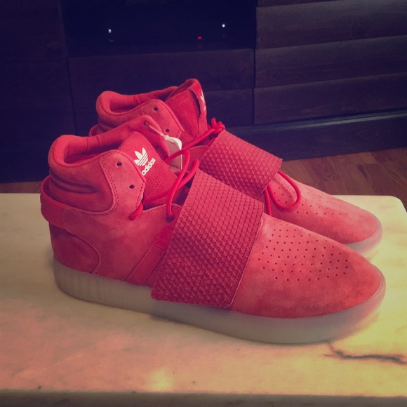 online store 99cbb e75ac New Adidas Tubular Invader Red Suede w/ Strap NWT